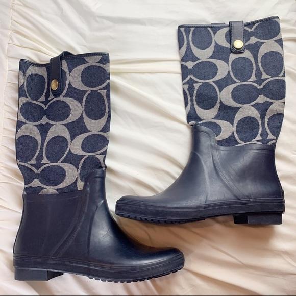 Coach Polly Rain Boots Navy Denim Size 8